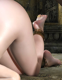 Hot and tight assed 3d elf chick got bent over by giant monster and being fucked and cum shot