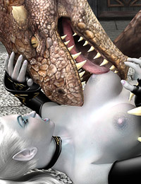 Elven sorceress subdues a dragon to make him fuck her