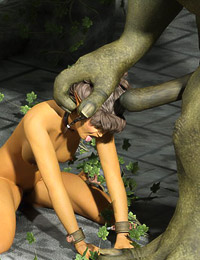 Sexy elven warrior has tears and sperm guttered down her face and does a very good job eating cum