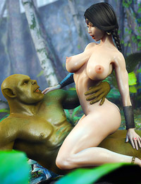 3D scene with terrible green evil fucking model babe with big boobs