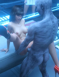 Gorgeous 3D sex from future between muscular monster and leggy brunette