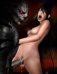 Game chick gets hard anal pounding by real monster's cock