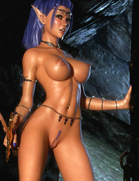 Tall 3D angel with big beautiful tits is posing completely naked