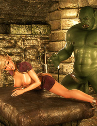 Gorgeous hardcore 3D sex in the dungeon with an awesome blonde and monster