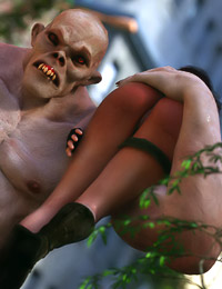 Insanely perverted girl is getting fucked by the filthy 3D monsters