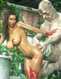 Muscled 3D demon impales a busty beauty in the doggy style pose