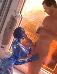 Robotic alien whore is getting fucked right in the spaceship