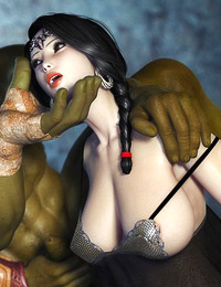 Amazingly sexy 3D elf girl and her two ogre friends are having squirting threesome fuck