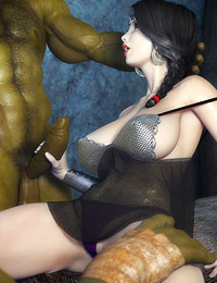 Beauty brunette girl got her twat licked up and fingered by giant green monster
