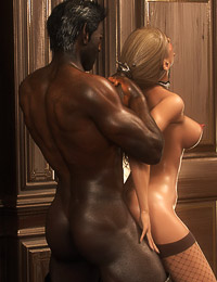 Black 3D knight fucks a sexy-shaped rich blonde in the castle